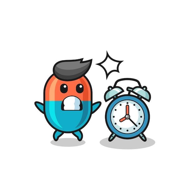 A ilustração dos desenhos animados da cápsula é surpreendida com um despertador gigante, design de estilo fofo para camiseta, adesivo, elemento de logotipo