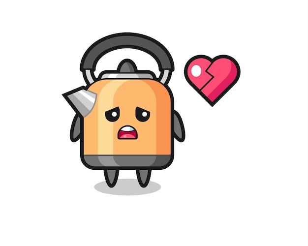A ilustração dos desenhos animados da chaleira é um coração partido, design de estilo fofo para camiseta, adesivo, elemento de logotipo
