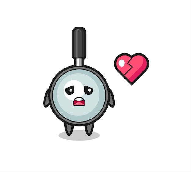 A ilustração dos desenhos animados da lupa é um coração partido, design de estilo fofo para camiseta, adesivo, elemento de logotipo