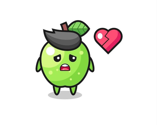 A ilustração dos desenhos animados da maçã verde mostra um coração partido, design de estilo fofo para camiseta, adesivo, elemento de logotipo