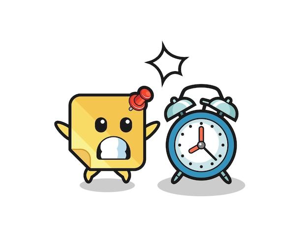 A ilustração dos desenhos animados da nota auto-adesiva é surpreendida com um despertador gigante, design de estilo fofo para camiseta, adesivo, elemento de logotipo