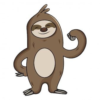A ilustração dos desenhos animados da preguiça mostra seus músculos do braço.
