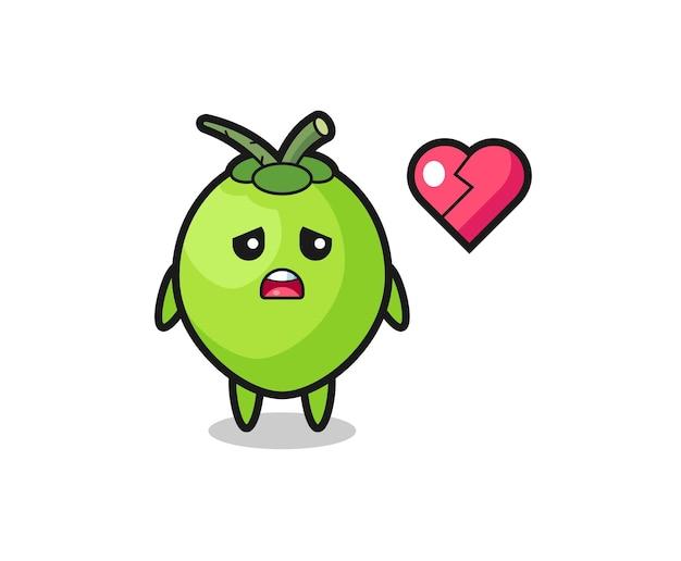 A ilustração dos desenhos animados de coco é um coração partido, design de estilo fofo para camiseta, adesivo, elemento de logotipo