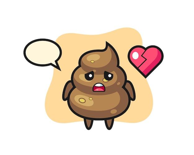 A ilustração dos desenhos animados de cocô mostra um coração partido, design de estilo fofo para camiseta, adesivo, elemento de logotipo