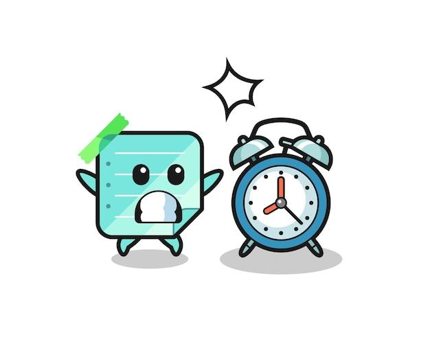 A ilustração dos desenhos animados de notas auto-adesivas é surpreendida com um despertador gigante, design de estilo fofo para camisetas, adesivo, elemento de logotipo