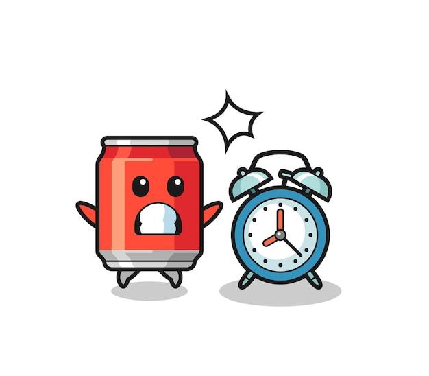 A ilustração dos desenhos animados de uma lata de bebida é surpreendida com um despertador gigante, design de estilo fofo para camiseta, adesivo, elemento de logotipo