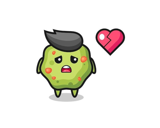 A ilustração dos desenhos animados de vômito é um coração partido, design de estilo fofo para camiseta, adesivo, elemento de logotipo