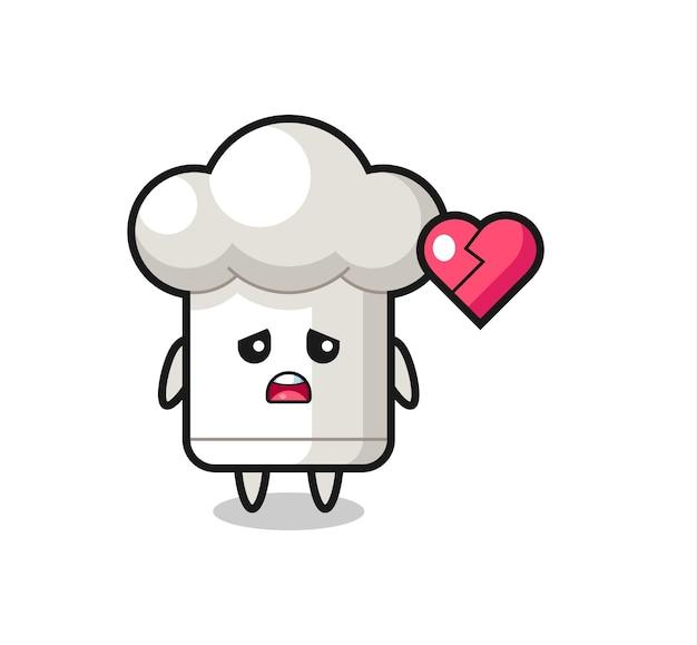 A ilustração dos desenhos animados do chapéu de chef é um coração partido, design de estilo fofo para camiseta, adesivo, elemento de logotipo