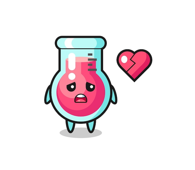 A ilustração dos desenhos animados do copo de laboratório é um coração partido, design de estilo fofo para camiseta, adesivo, elemento de logotipo