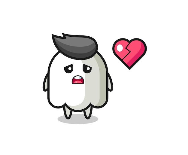 A ilustração dos desenhos animados fantasma é um coração partido, design de estilo fofo para camiseta, adesivo, elemento de logotipo