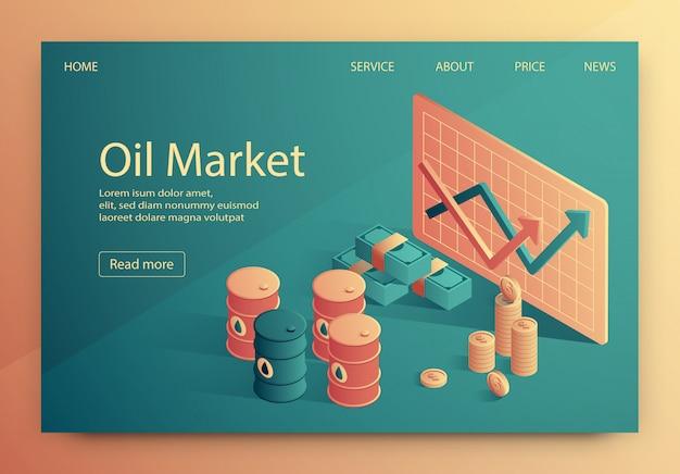 A ilustração é escrita mercado de petróleo isométrico.