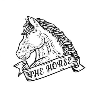 A ilustração em vetor logotipo cavalo