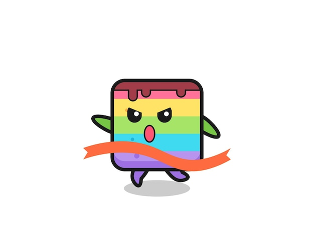 A ilustração fofa do bolo do arco-íris está chegando ao fim, design de estilo fofo para camiseta, adesivo, elemento de logotipo