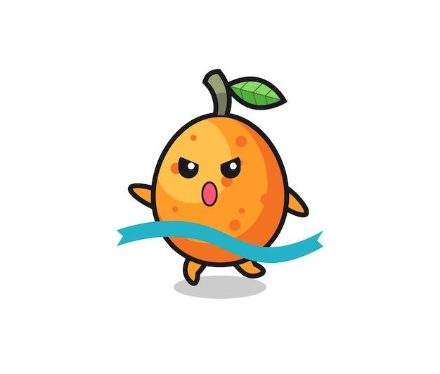 A ilustração fofa do kumquat está chegando ao fim, design de estilo fofo para camiseta, adesivo, elemento de logotipo