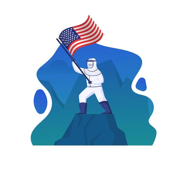 A ilustração mostra um médico vestindo um traje anti-risco e agitando a bandeira americana.