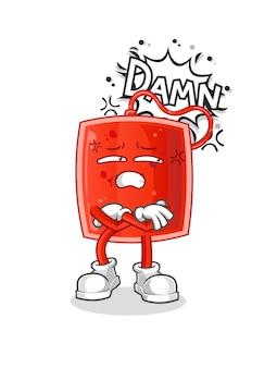 A ilustração muito irritada da bolsa de sangue.