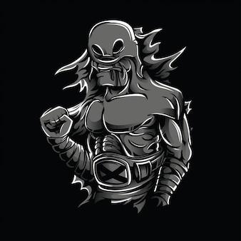 A ilustração preto e branco do lutador