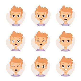 A ilustração que caracteriza o menino caçoa mostrar desenhos animados diferentes das emoções das expressões faciais.