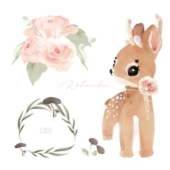 A ilustração sede animais e flores naturais