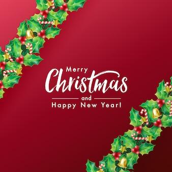 A ilustração vetorial de letras de feliz natal decora com guirlanda de azevinho, bastão de doces, estrela e sino