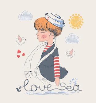 A ilustração vetorial desenhada à mão de menina marinheiro pode ser usada para crianças ou bebês.
