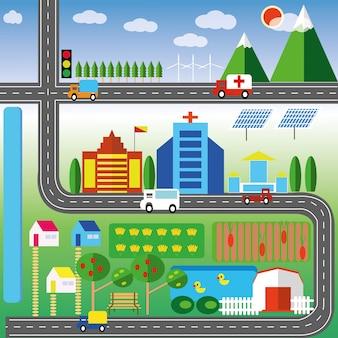 A imagem mostra o público o design plano da cidade