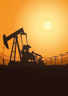 A indústria da plataforma petrolífera mostra em silhueta o fundo, ilustração.