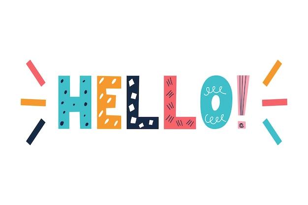 A inscrição colorida brilhante hello no estilo de um doodle em uma imagem vetorial de fundo branco