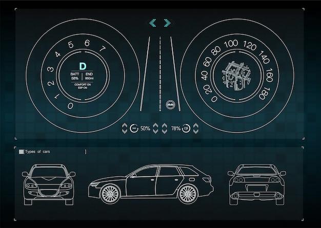 A interface do aplicativo para reparo e manutenção de peças automotivas. vista frontal, traseira e lateral do carro. infografia de transporte de mercadorias e transporte.