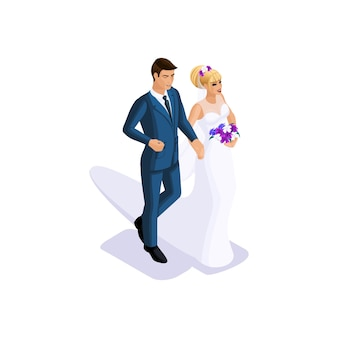 A isometria do noivo e a noiva vão se casar no braço, a noiva em um lindo vestido com um buquê de flores, o noivo em um terno