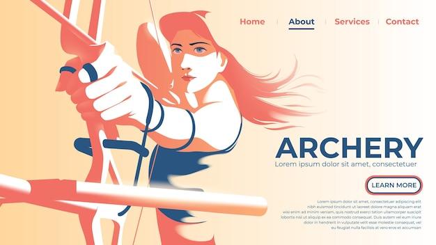A iu ou página de destino da arqueira feminina está puxando o arco e pronta para atirar com olhos determinados.