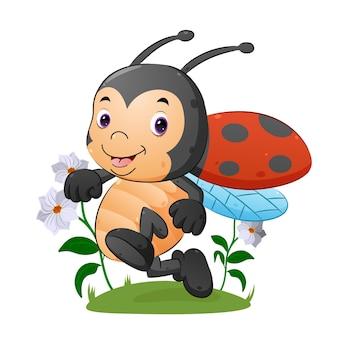 A joaninha feliz está correndo e voando no belo jardim da ilustração