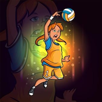 A jogadora de vôlei feminina e o desenho do mascote da ilustração