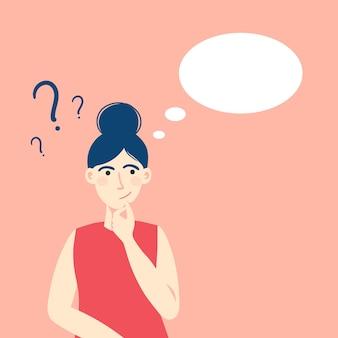 A jovem está confusa. linda morena duvida, pensa porque mulher com ponto de interrogação