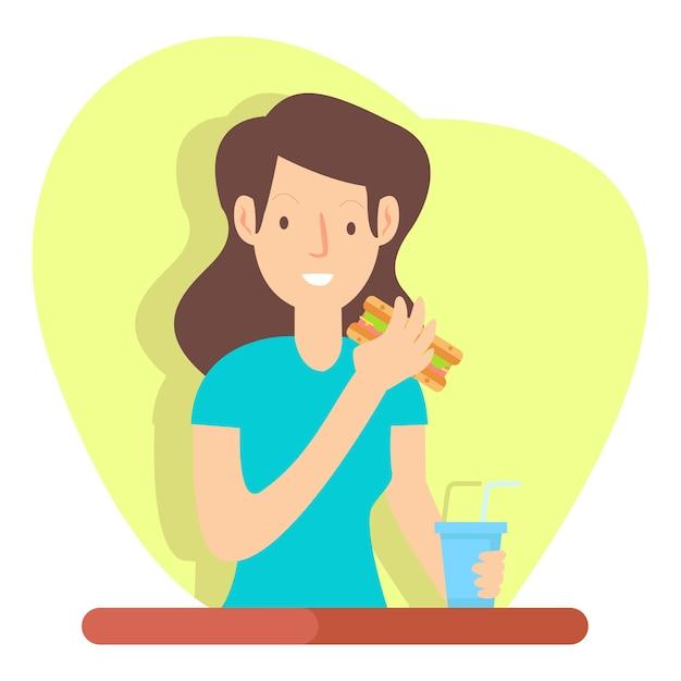 A jovem feliz está comendo um cachorro-quente e bebendo suco de laranja na hora do almoço