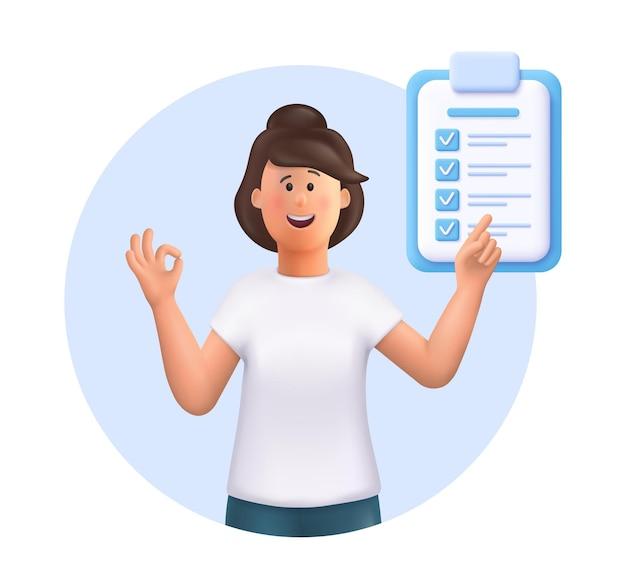 A jovem jane aponta na direção marcada por uma ilustração em vetor 3d de lista de verificação