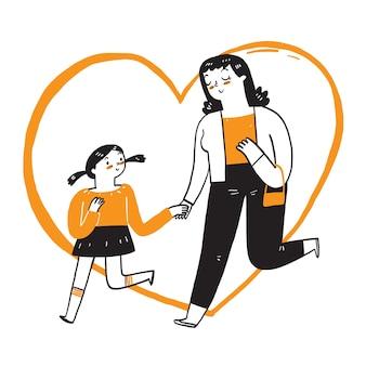 A jovem mãe alegremente andava de mãos dadas com a adorável filha