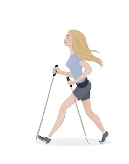 A jovem mulher com cabelo amarelo no esportes veste-se com pólos de caminhada. moça caminhando.