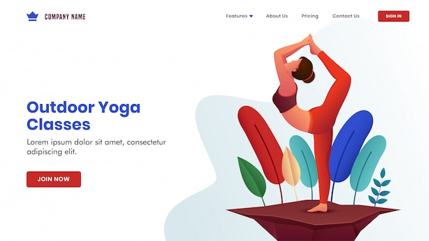 A jovem mulher pratica pose de natarajasana de ioga na vista da natureza para a página de destino baseada em aulas de ioga ao ar livre.