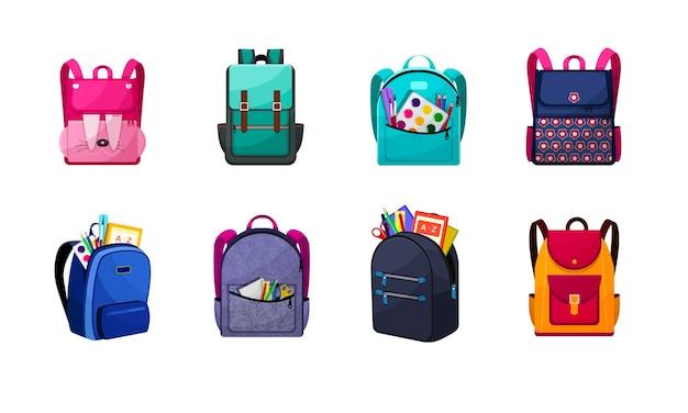 A kids mochilas escolares com equipamento educacional.