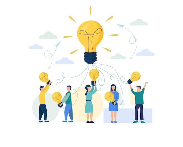 A lâmpada como símbolo do trabalho em equipe e do brainstorming