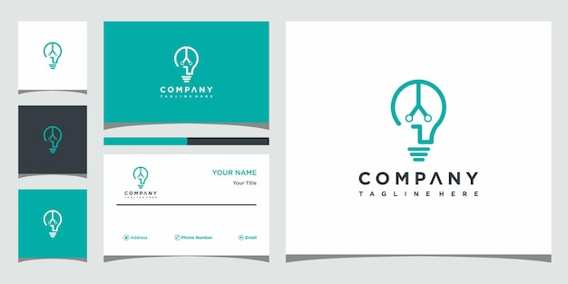 A lâmpada criativa combina o logotipo do conceito e o design do cartão de visita premium vector
