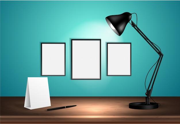 A lâmpada de mesa 3d na mesa de madeira ilumina cartazes vazios em uma parede. ilustração.