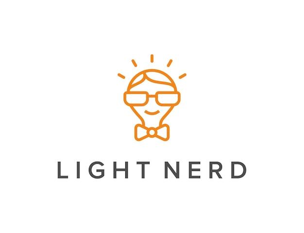 A lâmpada e o nerd esboçam um logotipo simples e elegante, criativo, geométrico e moderno
