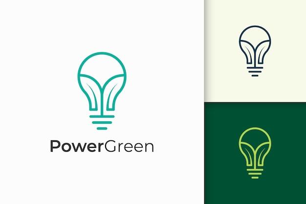 A lâmpada moderna e o logotipo da folha representam a natureza e a inovação