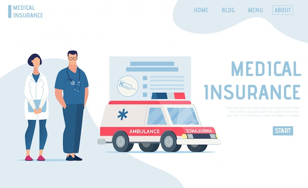 A landing page oferece seguro médico profissional