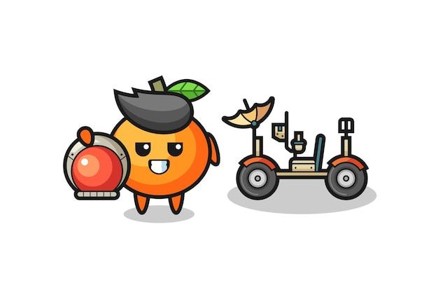 A laranja mandarim fofa como astronauta com um rover lunar, design de estilo fofo para camiseta, adesivo, elemento de logotipo