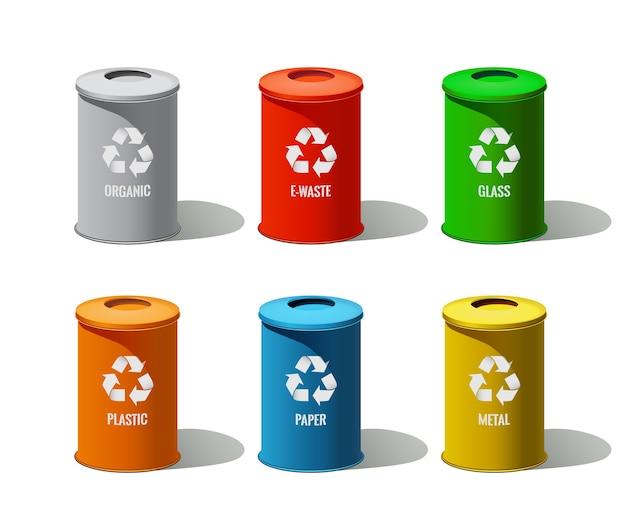 A lata de lixo fica isolada no fundo branco