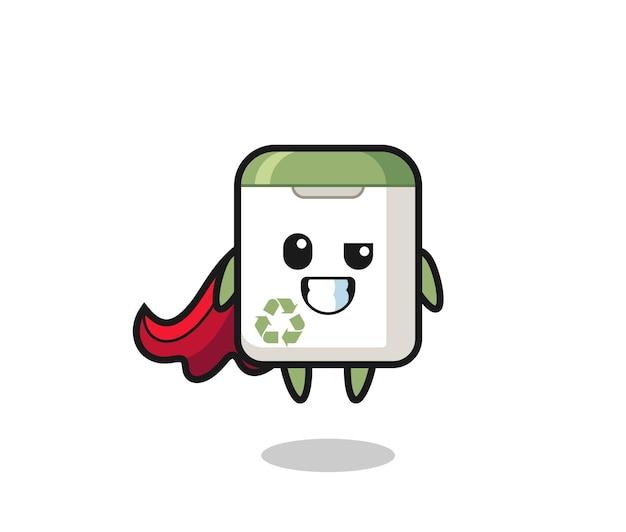 A lata de lixo fofa personagem como um super-herói voador, design de estilo fofo para camiseta, adesivo, elemento de logotipo