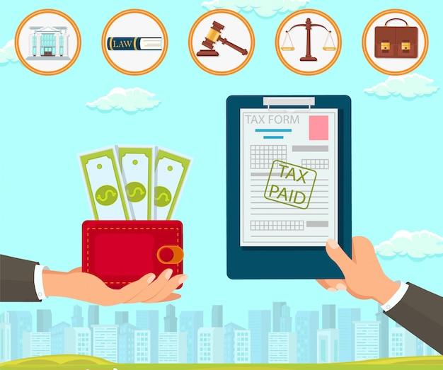 A law company mantém documentos do formulário fiscal.